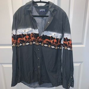 Horse detailed Panhandle slim shirt (F5)